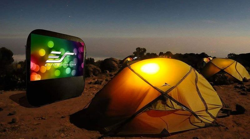 The projector screen Pop-Up Cinema for camping