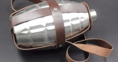 Steel flask in the form of grenades